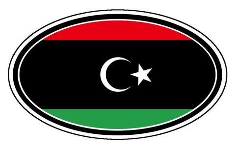 Libya Flag Car Bumper Sticker Decal Oval