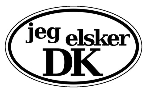 Jeg Elsker Danmark - I love Denmark - in Danish Black and White Bumper Sticker Oval
