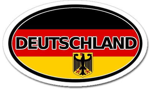 Deutschland Germany Flag with German Eagle Sticker Oval