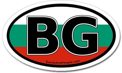 BG Bulgaria Flag Car Bumper Sticker Decal Oval