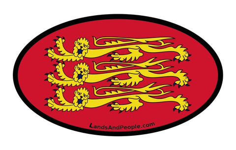 Gold Lions Leopards Royal Arms, Royal Banner Flag of England Car Sticker Oval