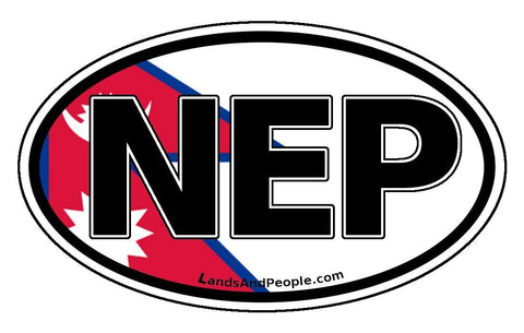 NEP Nepal Nepali Flag Car Sticker Decal Oval