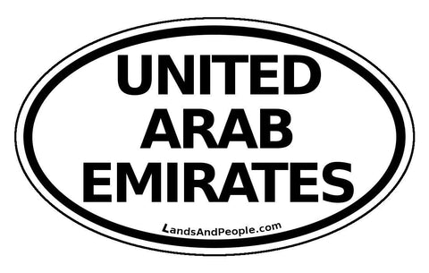 United Arab Emirates Sticker Oval Black and White