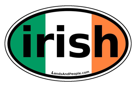 Irish Ireland Flag Car Sticker Decal Oval