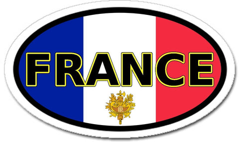 France and French Flag Car Bumper Vinyl Sticker Decal Oval