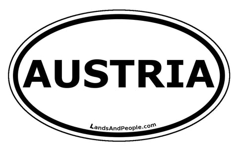 Austria Car Bumper Sticker Decal Oval Black and White - Lands & People