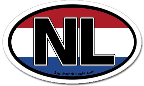 NL Netherlands Flag Sticker Oval