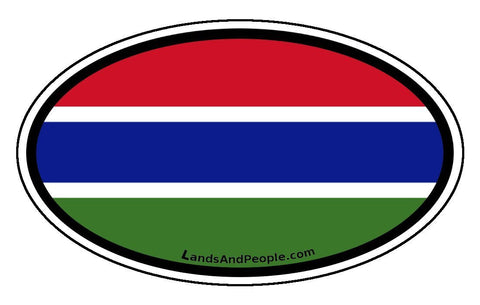 Gambia Flag Sticker Decal Oval