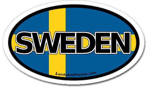Sweden Flag Sticker Decal Oval