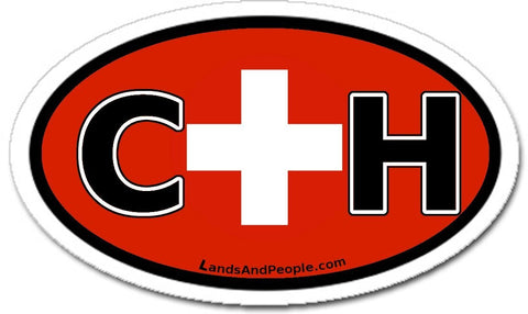 CH Switzerland Swiss Flag Sticker Oval