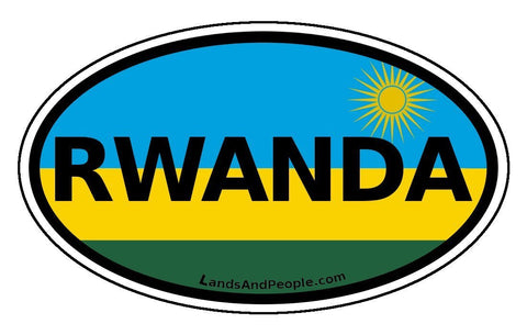 Rwanda Flag Car Sticker Oval