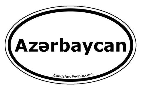 Azərbaycan Azerbaijan in Azeri Language Car Sticker Oval Black and White - Lands & People