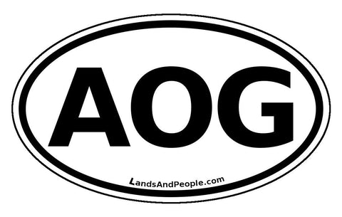 AOG Angola Sticker Oval Black and White