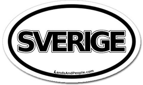 Sverige Sweden Sticker Decal Oval Black and White
