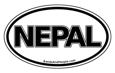 Nepal Car Sticker Decal Oval Black and White