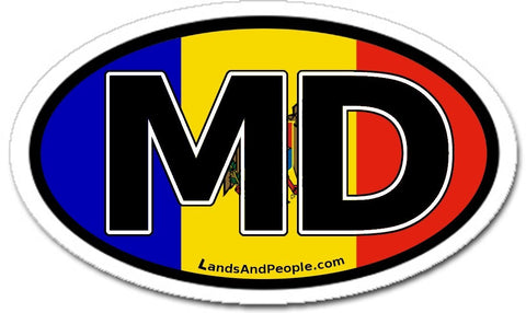 MD Moldova Flag Sticker Oval