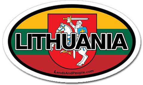 Lithuania Flag and Coat of Arms Vytis Sticker Oval