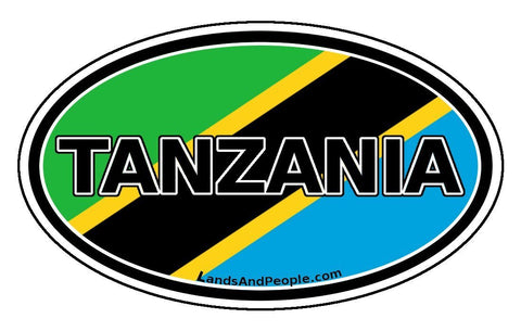 Tanzania Flag Car Bumper Sticker Oval