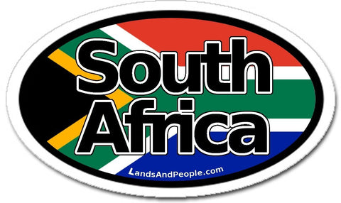 South Africa Flag Car Sticker Oval