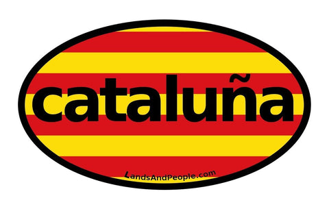 Cataluña Catalonia in Spanish Flag Car Bumper Sticker Decal Oval