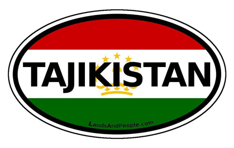 Tajikistan Flag Sticker Oval