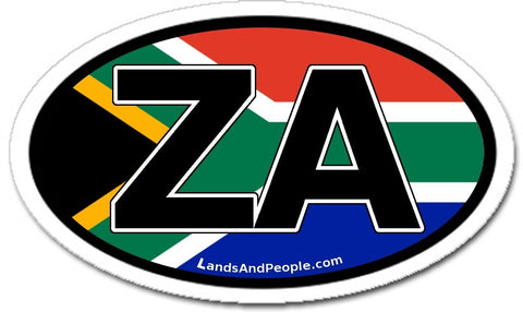 ZA Zuid Afrika South Africa Flag Car Sticker Oval