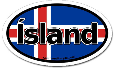 Ísland Iceland Flag Sticker Oval