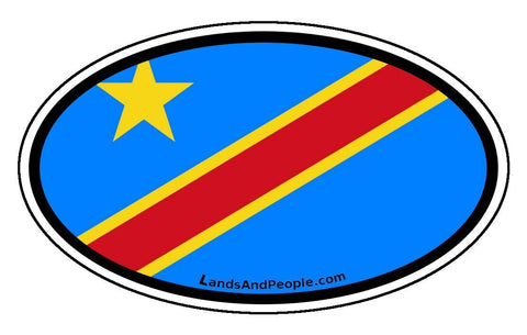 Congo Flag Bumper Sticker Decal Oval