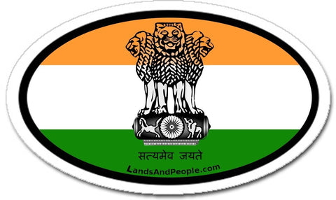 India Flag Sticker Oval