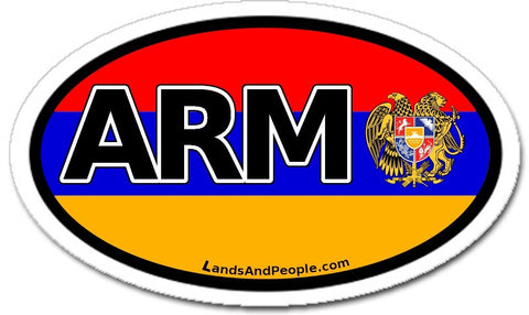 Armenia Flag ARM Car Bumper Sticker Decal Oval - Lands & People