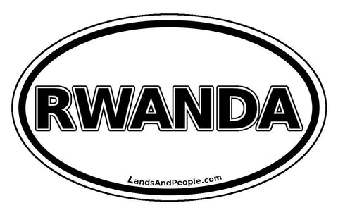 Rwanda Car Sticker Oval Black and White