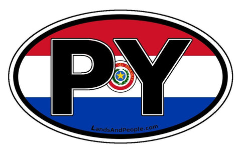 PY Paraguay Flag Car Bumper Sticker Decal