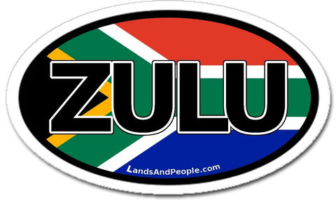 Zulu South Africa Flag Car Sticker Oval