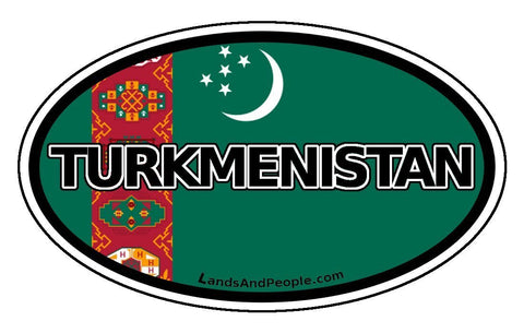 Turkmenistan Flag Sticker Oval