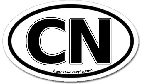 CN China Car Sticker Oval Black and White