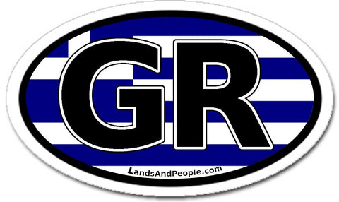 GR Greece Flag Sticker Oval