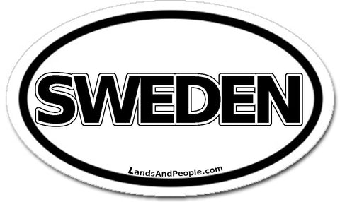 Sweden Sticker Decal Oval Black and White