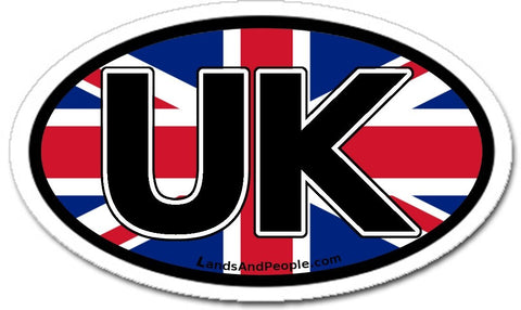 UK United Kingdom Flag Sticker Oval