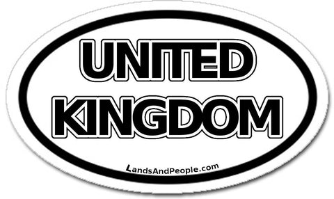 United Kingdom Sticker Oval Black and White