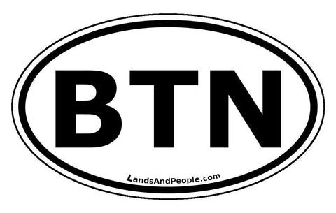 Bhutan BTN Car Sticker Oval Black and White
