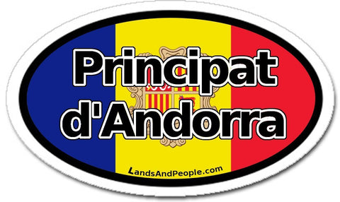 Principat d'Andorra Flag Sticker Decal Oval