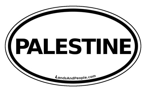 Palestine Car Sticker Oval Black and White