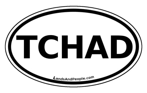 Tchad Chad Sticker Oval Black and White