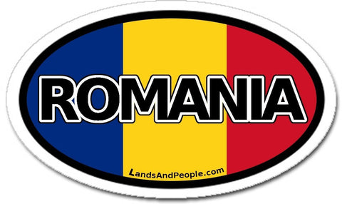 Romania Flag Sticker Oval