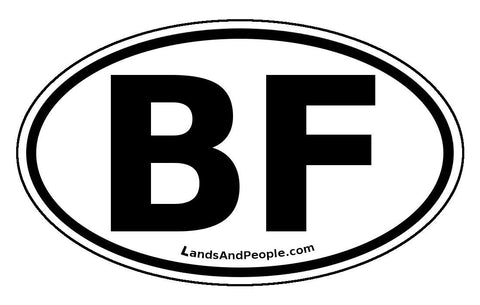 BF Burkina Faso Sticker Oval Black and White