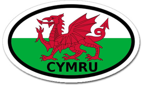Cymru Wales in Welsh Flag Dragon Car Bumper Sticker Oval