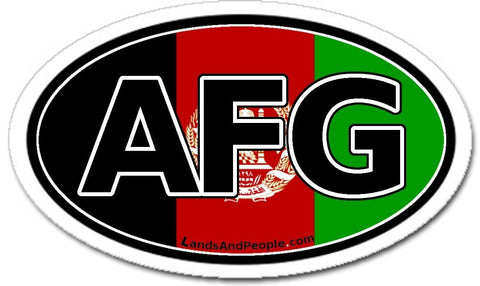 AFG Afghanistan Flag Sticker Oval