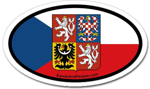 Czech Republic Flag Coat of Arms Sticker Decal Oval
