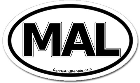 MAL Malaysia Sticker Oval Black and White
