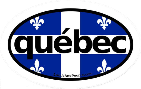 Québec Flag Car Bumper Sticker Vinyl Oval